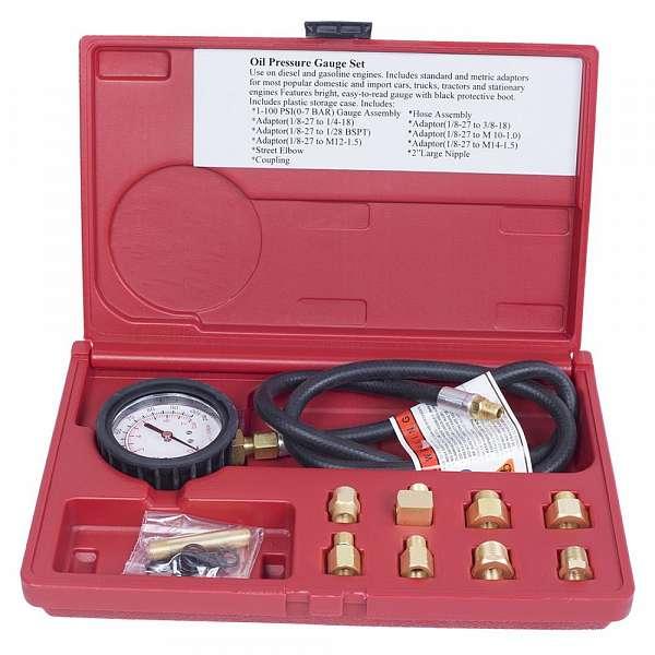 Манометр для измерения давления масла, 0-7 бар, комплект адаптеров,  МАСТАК 120-20020C фото