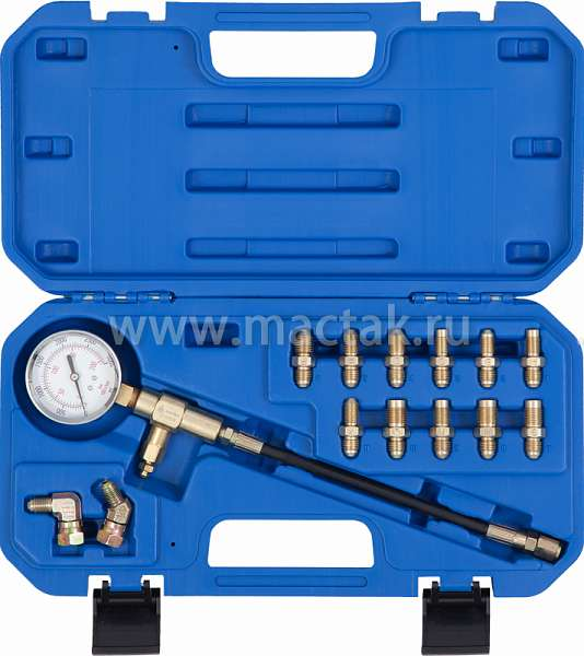 Манометр для измерения давления в тормозных системах, 14 предметов,  МАСТАК 120-50024C купить