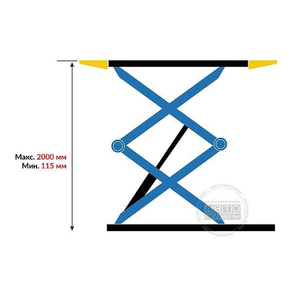 Подъемник ножничный электрогидравлический PEAK SX07 г/п 3 тонны, напольный купить