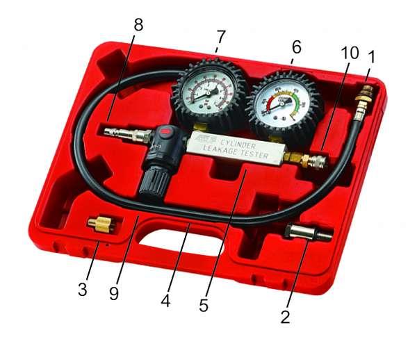 Набор для выявления утечек в цилиндрах, диапазон измерений 0-100PSI(0-700кПА) в кейсе. JTC-4208