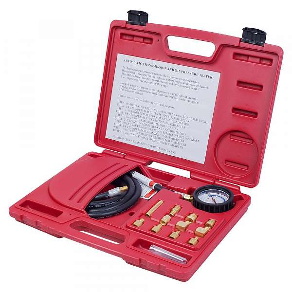 Манометр для измерения давления масла, 0-21 бар, комплект адаптеров,  МАСТАК 120-20012C фото
