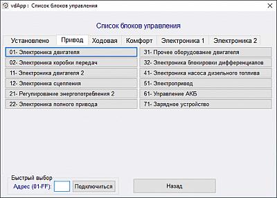 Диагностический сканер Вася диагност 21.4.0 (лицензия) - Перечень диагностируемых блоков