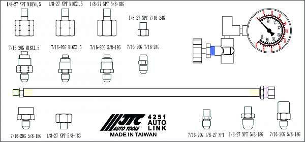 Тестер давления масла гидроусилителя руля (в кейсе). JTC-4251