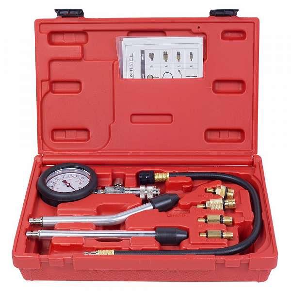 Компрессометр бензиновый, 0-20 атм, кейс, 8 предметов,  МАСТАК 120-10008C фото