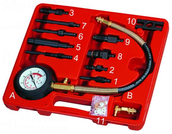 Компрессометр для дизельных двигателей с набором адаптеров. JTC-1364